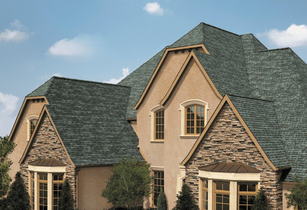 shingle roof on house with stone veneer