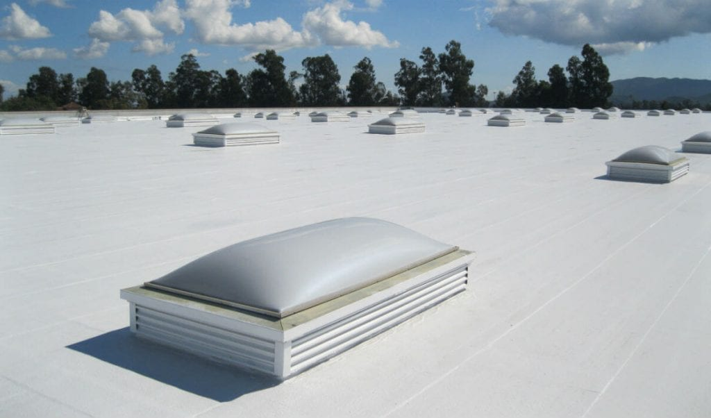 single ply roofing on a large retail store
