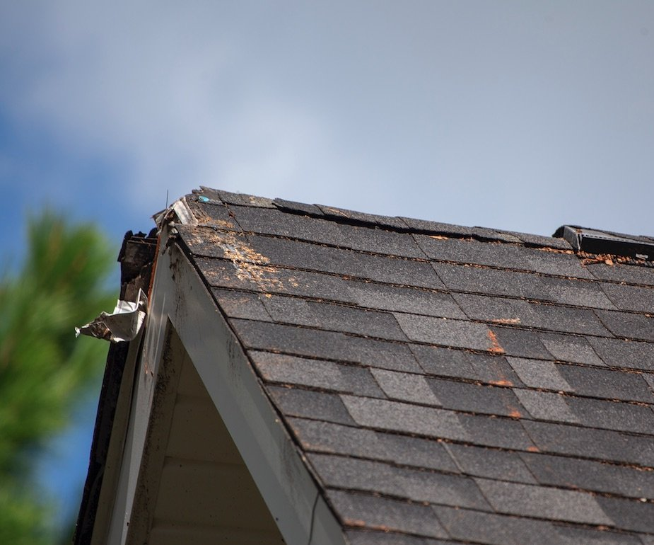 Roof with ridge and fascia that need repairs