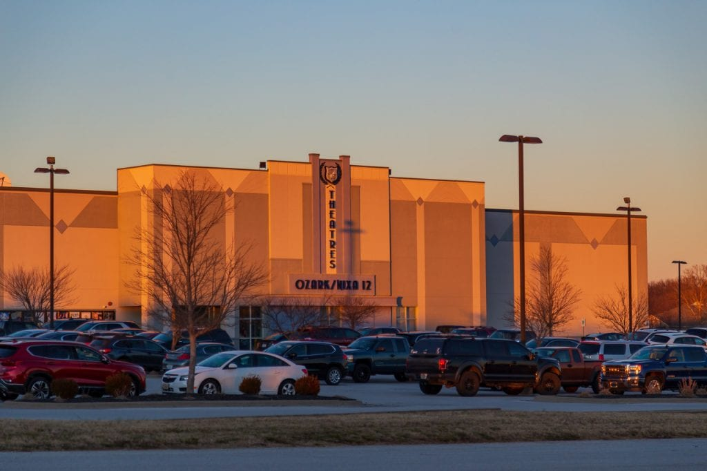 Ozark/Nixa 12 Theatres in Nixa MO at sunset