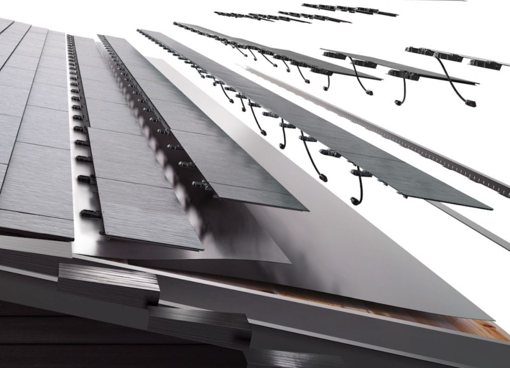 Tesla solarglass solar tiles - image showing exploded view with tile assembly