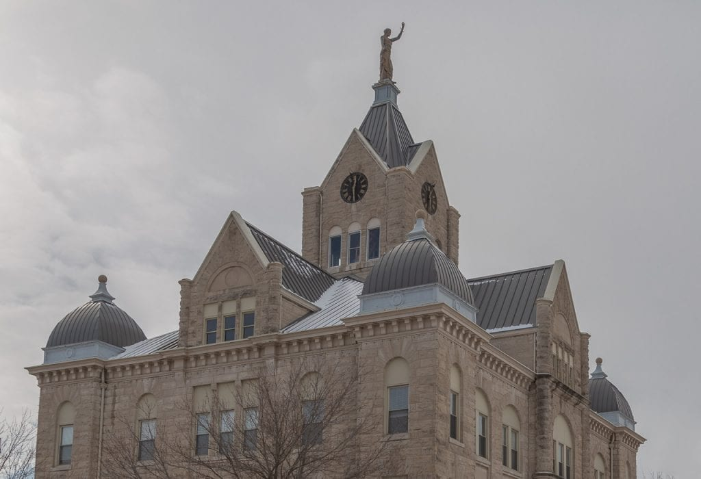 Standing seam metal roof on court house in bolivar mo