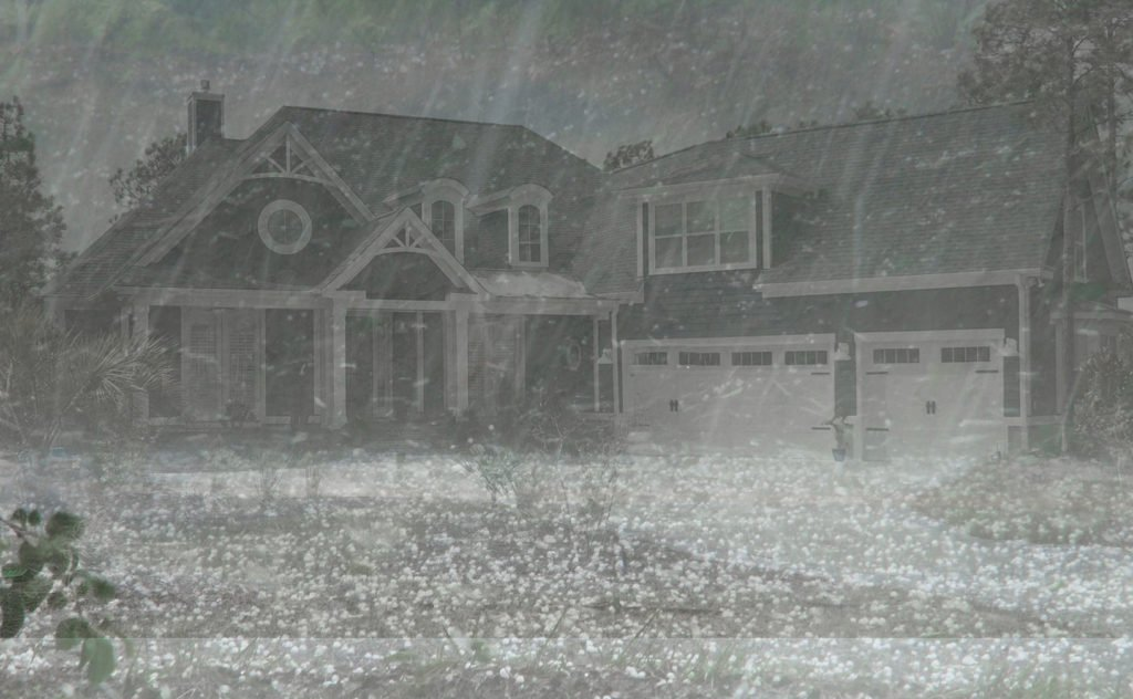 House with hail storm