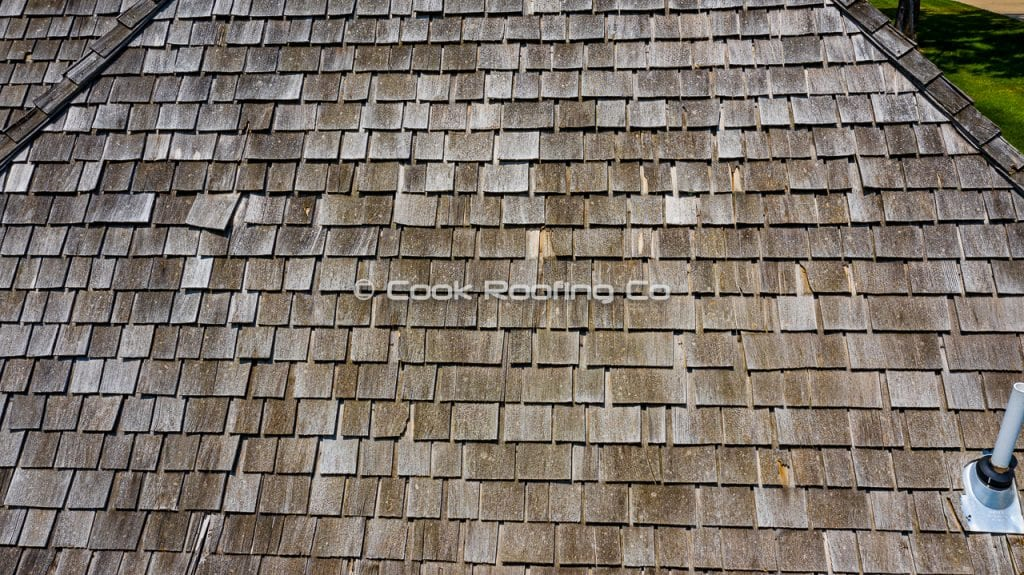 Wood shingles with hail damage in springfield mo